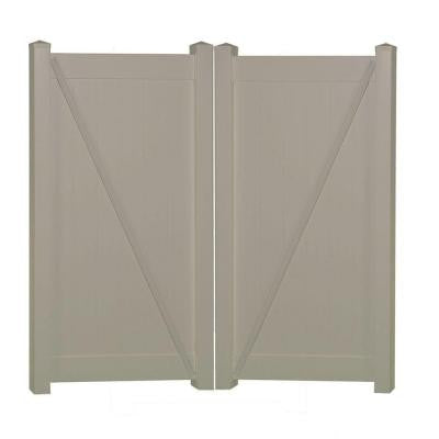 Shelton 7.4 ft. x 5 ft. Khaki Vinyl Privacy Double Fence Gate