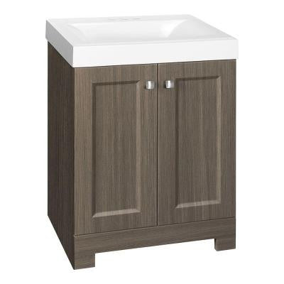 Shaila 24-1/2 in. Vanity in Silverleaf with Cultured Marble Vanity Top in White