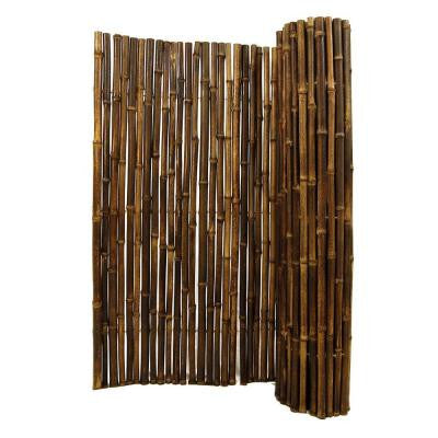 1 in. D x 6 ft. H x 8 ft. W Black Rolled Bamboo Fence