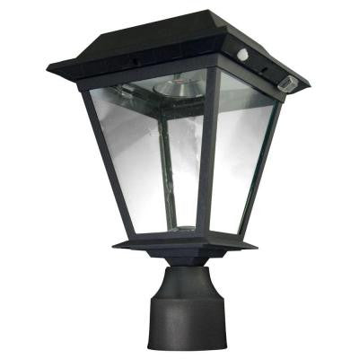 Stay On Whole Night 300 Lumen 3 in. Fitter Mount Outdoor Black Solar LED Lamp