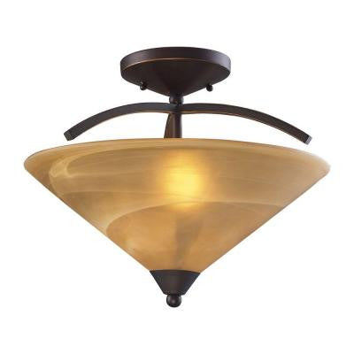 Elysburg 2-Light Aged Bronze Ceiling Semi-Flush Mount Light