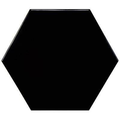 Hexatile Glossy Nero 7 in. x 8 in. Porcelain Floor and Wall Tile (2.2 sq. ft. / pack)