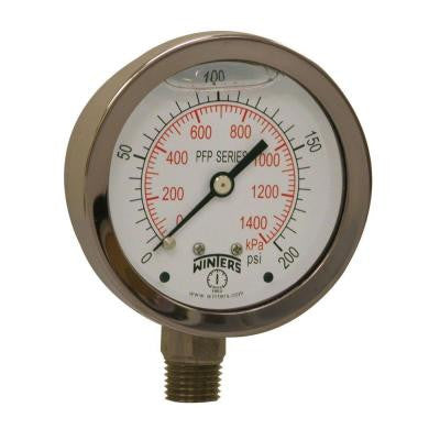 PFP Series 2.5 in. Stainless Steel Liquid Filled Case Pressure Gauge with 1/4 in. NPT LM and Range of 0-200 psi/kPa
