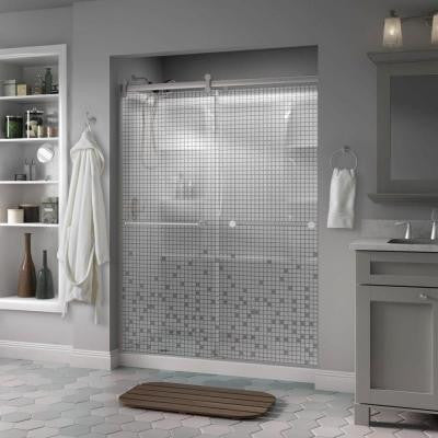 Crestfield 60 in. x 71 in. Semi-Framed Contemporary Style Sliding Shower Door in Nickel with Mosaic Glass