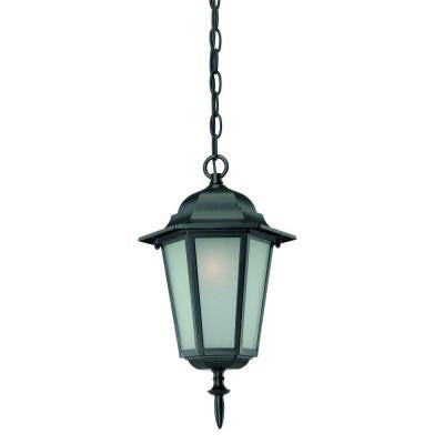 Camelot Collection 1-Light Hanging Outdoor Matte Black Light Fixture