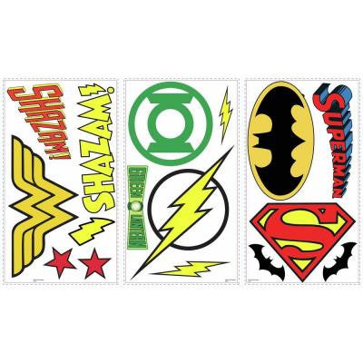 5 in. W x 11.5 in. H DC Superhero Logos 16-Piece Peel and Stick Wall Decal