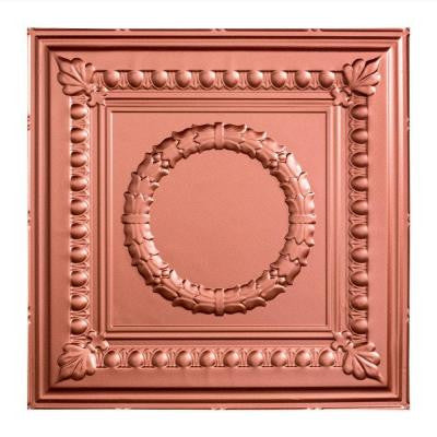 Rosette - 2 ft. x 2 ft. Lay-in Ceiling Tile in Argent Copper