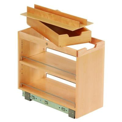 10-3/4x19-1/2x22-1/8 in. FINDIT Birch Kitchen Storage Organization Base Cabinet Pullout with Slide and Roll Manager