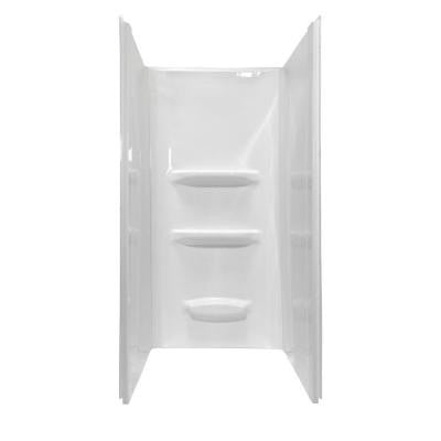 Elite 36 in. x 36 in. x 69 in. 3-Piece Direct-to-Stud Shower Wall Kit in White