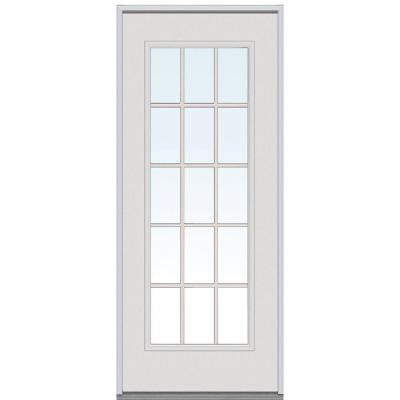 34 in. x 80 in. Classic Clear Glass 15 Lite GBG Primed White Steel Replacement Prehung Front Door