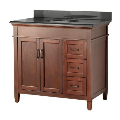 Ashburn 37 in. W x 22 in. D Vanity in Mahogany with Right Drawers with Colorpoint Vanity Top in Black