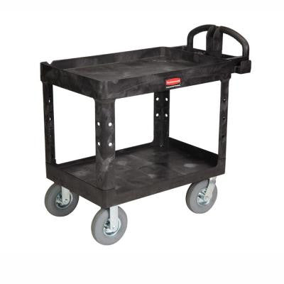 Heavy Duty Black 2-Shelf Utility Cart with Lipped Shelf in Medium with Pneumatic Casters