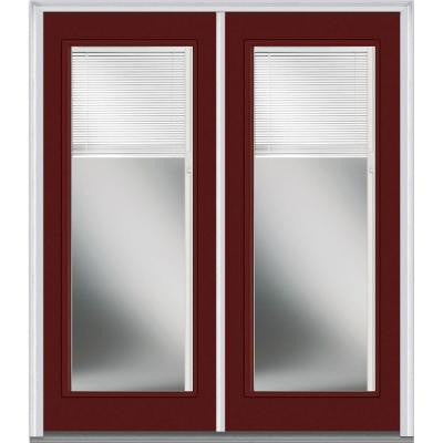 64 in. x 80 in. Classic Clear RLB Full Lite Painted Fiberglass Smooth Double Prehung Front Door