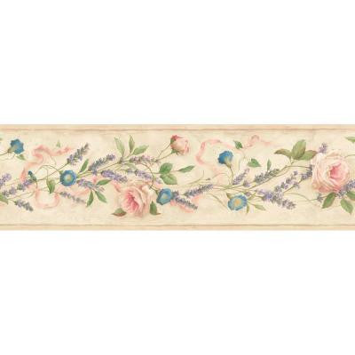 6.13 in. x 15 ft. Multicolored Floral Trail Border