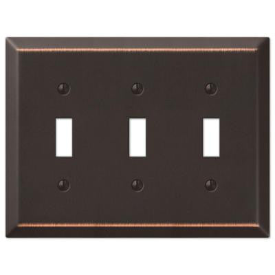 Steel 3 Toggle Wall Plate - Aged Bronze