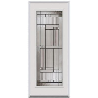32 in. x 80 in. Kensington Decorative Glass Full Lite Primed White Steel Replacement Prehung Front Door