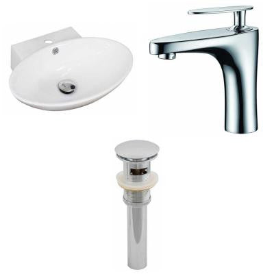 Oval Vessel Sink Set in White with Single Hole cUPC Faucet and Drain