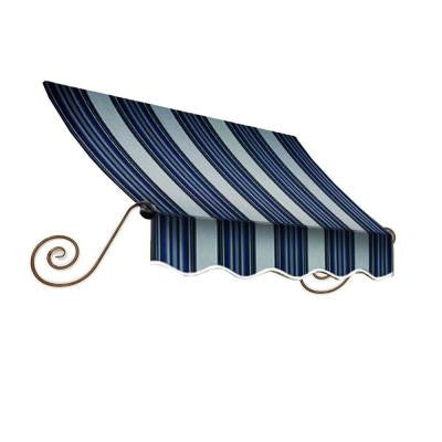 16 ft. Charleston Window Awning (24 in. H x 12 in. D) in Navy/Gray/White Stripe