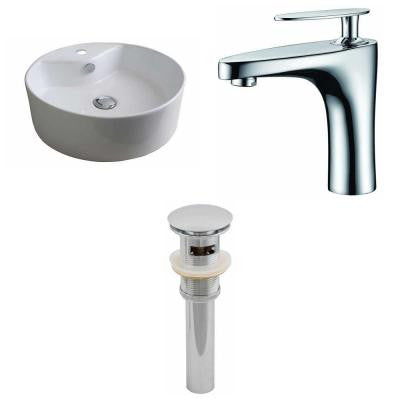 Round Vessel Sink Set in White with Single Hole cUPC Faucet and Drain