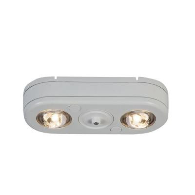 Revolve White Dusk to Dawn Outdoor LED Twin Head Flood Light (3500K)