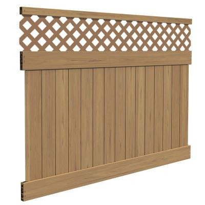 Yellowstone 6 ft. x 8 ft. Cypress Vinyl Lattice Top Fence Panel Kit