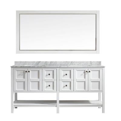 Florence 72 in. W x 22 in. D x 35 in. H Vanity in White with Marble Vanity Top in White with Basin and Mirror