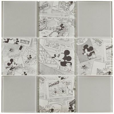 Mickey Vintage 11-3/4 in. x 11-3/4 in. x 5 mm Glass Mosaic Tile