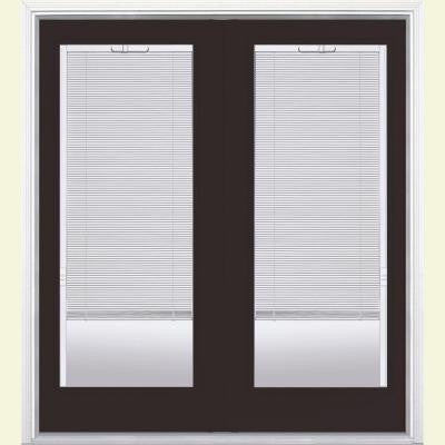 72 in. x 80 in. Willow Wood Prehung Left-Hand Inswing Mini Blind Steel Patio Door with Brickmold in Vinyl Frame