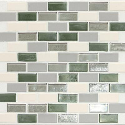 Coastal Keystones Caribbean Palm Brick Joint 12 in. x 12 in. x 6 mm Glass Mosaic Floor and Wall Tile