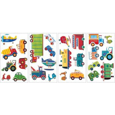 10 in. x 18 in. Transportation 26-Piece Peel and Stick Wall Decals