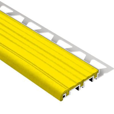 Trep-B Aluminum with Yellow Insert 1 in. x 8 ft. 2-1/2 in. Metal Stair Nose Tile Edging Trim
