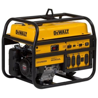 6,000-Watt Gasoline Powered Manual Start Portable Generator with Honda Engine