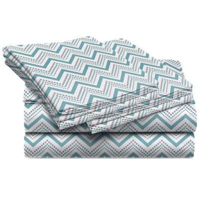 Jill Morgan Fashion Printed Chevron Blue Microfiber King Sheet Set (4-Piece)