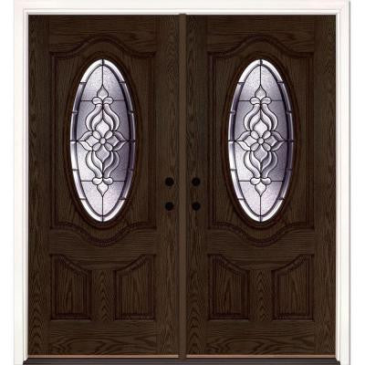 74 in. x 81.625 in. Lakewood Patina 3/4 Oval Lite Stained Walnut Oak Fiberglass Double Prehung Front Door