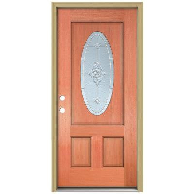36 in. x 80 in. Rosemont 3/4 Oval Lite Unfinished Mahogany Wood Prehung Front Door with Brickmould and Zinc Caming