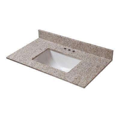 25 in. W x 19 in. D Granite Vanity Top in Golden Hill with White Single Trough Basin
