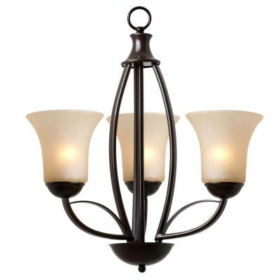Tioga Pass Collection 3-Light Oil Rubbed Bronze Hanging Chandelier with Amber Scavo Glass Shade