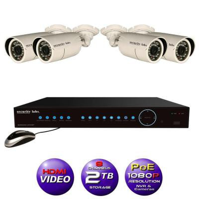 8CH High Definition 1080P IP POE-NVR Surveillance System with 2TB Hard Drive, 4 Weatherproof Bullet Cameras and Apps