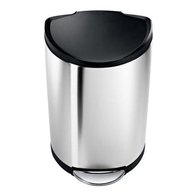 40 l Brushed Stainless Steel Semi-Round Step-On Trash Can with Black Plastic Lid