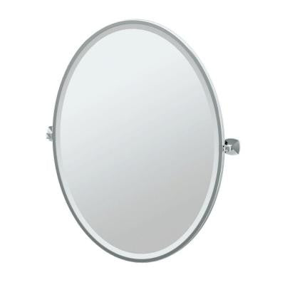 Jewel 28.25 in. x 33 in. Framed Single Large Oval Mirror in Chrome