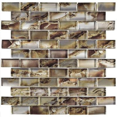Sterling Subway Champagne 11-3/4 in. x 12 in. x 9 mm Glass Mosaic Tile