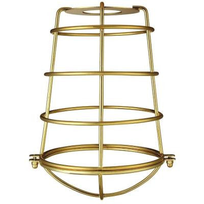 8-3/16 in. Polished Brass Industrial Cage Metal Shade with 2-1/4 in. Fitter and 6-5/16 in. Width