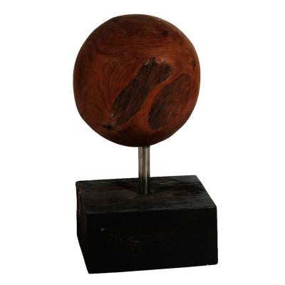 16 in. H Teak Orb on Decorative Stand in Brown/Black