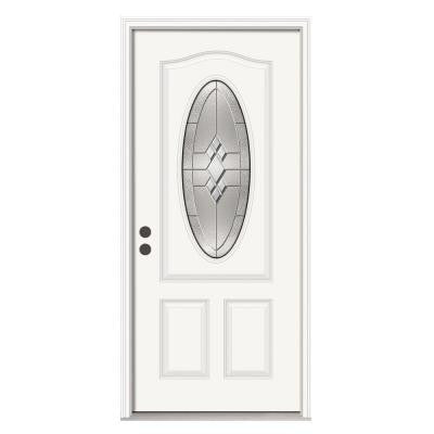 36 in. x 80 in. Kingston 3/4 Oval Lite Primed Premium Steel Prehung Front Door with Brickmould