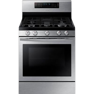 30 in. 5.8 cu. ft. Flex Duo Double Oven Gas Range with Self-Cleaning Dual Convection Oven in Stainless Steel