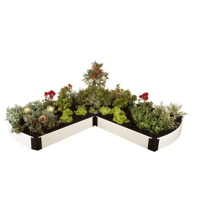 8 ft. x 8 ft. x 8 in. White Composite L-Shaped Curved End Raised Garden Bed Kit