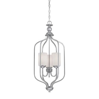 3-Light Brushed Pewter Chandelier with Etched White Glass