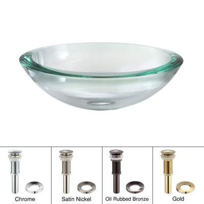 Edge Vessel Sink in Clear Glass with Pop-Up Drain and Mounting Ring in Oil Rubbed Bronze