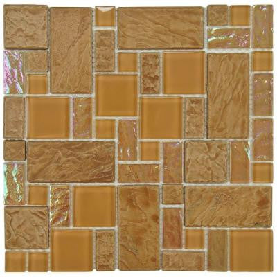 Garden Versailles Peony 11-3/4 in. x 11 3/4 in. x 8 mm Ceramic and Glass Wall Tile
