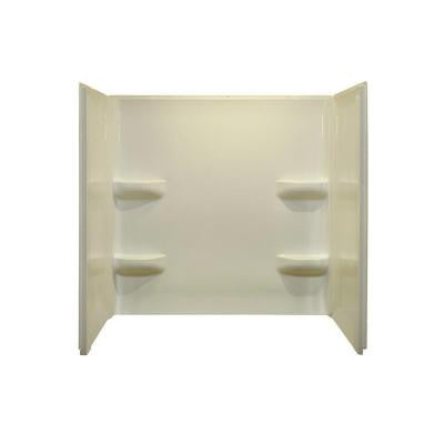 Elite 27 in. x 54 in. x 59 in. 3-Piece Direct-to-Stud Tub Wall Kit in Biscuit